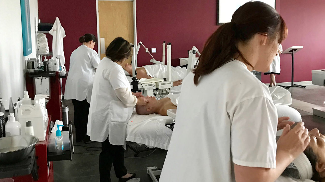 Massage therapists at work